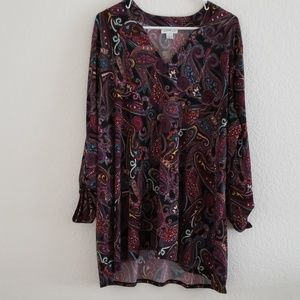 Jaclyn Smith Paisley print stretchy blouse
